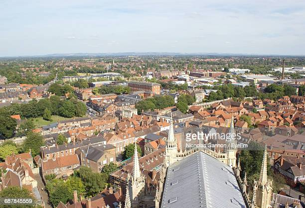 cityscape seen from york minster - york minster stock pictures, royalty-free photos & images