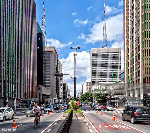 Cityscape São Paulo Paulista Avenue finance center of city All sundays is opened a exclusive bike path to leisure quite marked São Paulo Brazil Autumn
