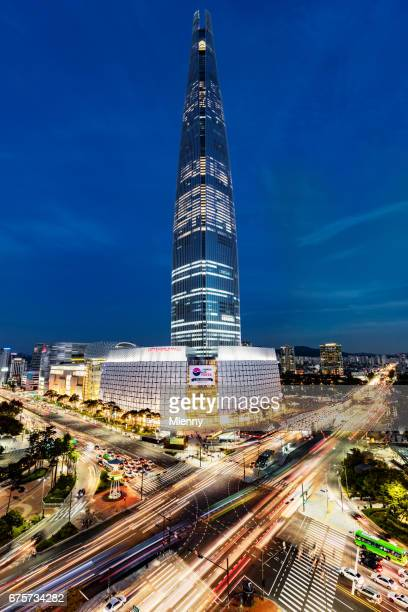 Cityscape Songpagu Skyscrapers Lotte World Tower at Night Seoul