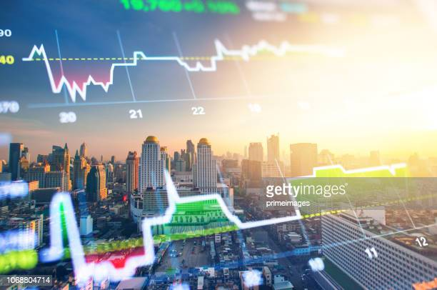 cityscape thailand with investment theme background and stock market chart - bear market stock pictures, royalty-free photos & images