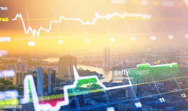 cityscape thailand with investment theme background and stock market chart - bull market stock pictures, royalty-free photos & images