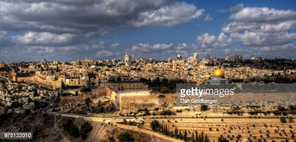 cityscape under cloudy sky, jerusalem, israel - jerusalem old city stock pictures, royalty-free photos & images