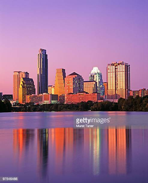 cityscape view of a city at dusk - austin texas stock pictures, royalty-free photos & images