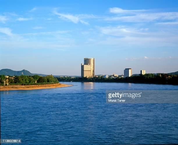cityscape view of bonn along the rhine river - bonn stock-fotos und bilder