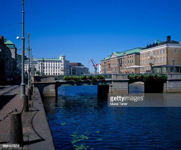 view central gothenburg along canal with