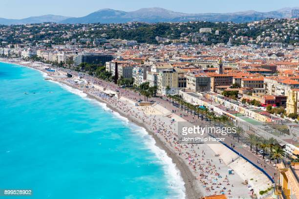 cityscape view with coastline and beach, nice, cote dazur, france - france stock pictures, royalty-free photos & images