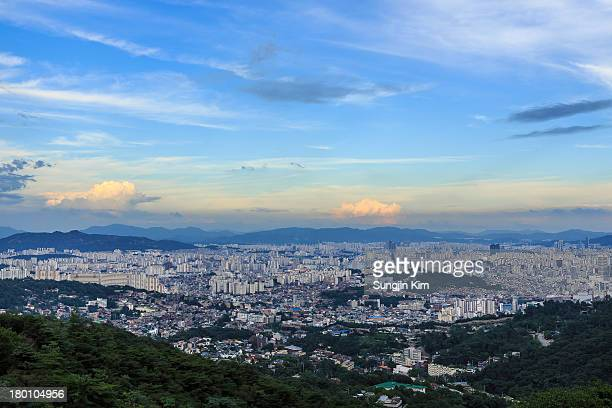 cityscape viewed from mountain - sungjin kim stock pictures, royalty-free photos & images