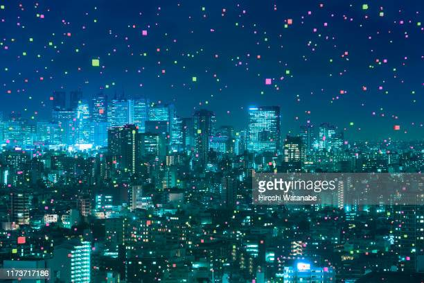 cityscape with abstract light particle - global communications stock pictures, royalty-free photos & images