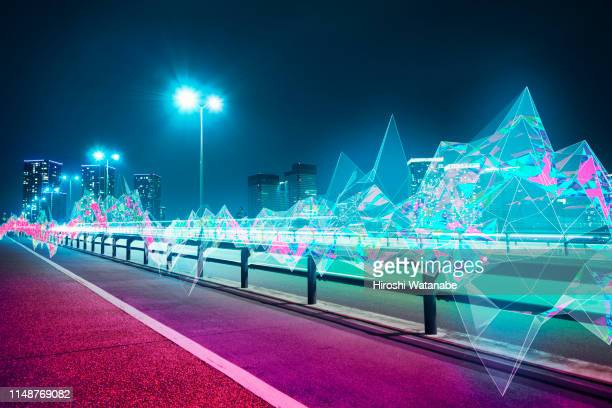 cityscape with abstract light trail at night - vr ストックフォトと画像