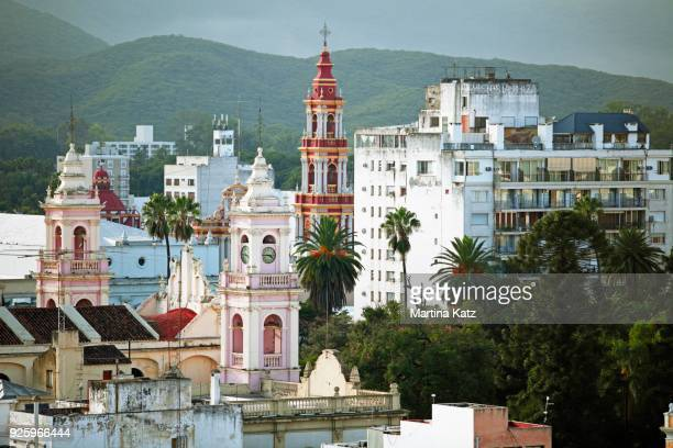 cityscape with cathedral and iglesia san francisco, salta, salta province, argentina - salta argentina stock photos and pictures