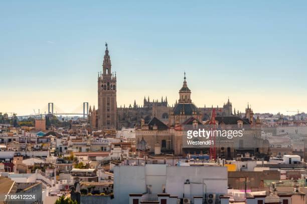 cityscape with cathedral of seville with la giralda, seville, spain - la giralda fotografías e imágenes de stock