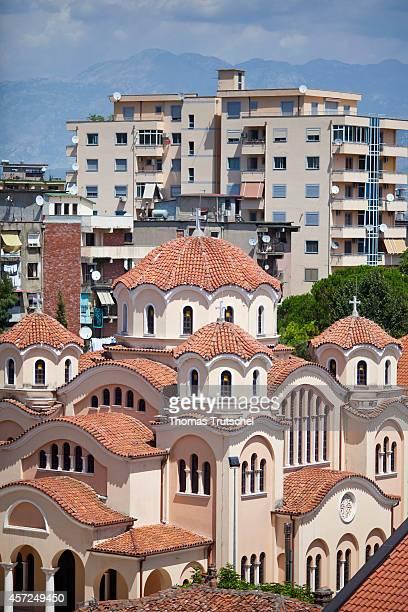 Cityscape with Church on August 05 in Shiroka Albania