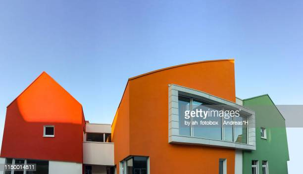 cityscape with colourful facade of modern residential buildings - southern europe stock pictures, royalty-free photos & images