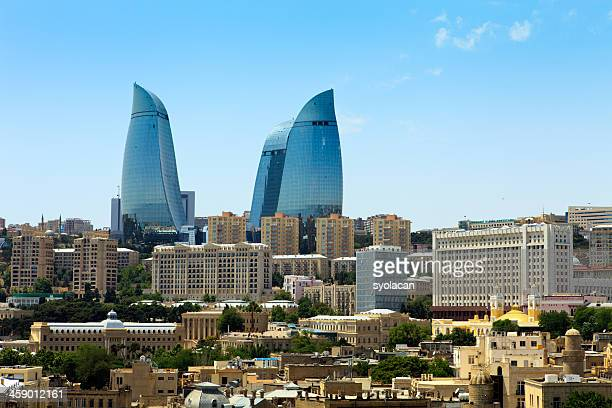 cityscape with flame towers - azerbaijan stock pictures, royalty-free photos & images