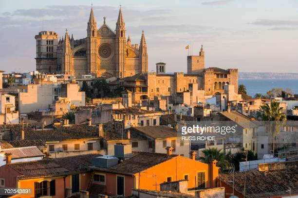 cityscape with la seu cathedral and rooftops, palma de mallorca , majorca, spain - palma majorca stock photos and pictures
