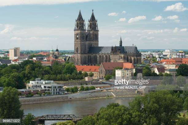 Cityscape with Magdeburg Cathedral and Elbe, the oldest Gothic building in Germany, Magdeburg, Saxony-Anhalt, Germany