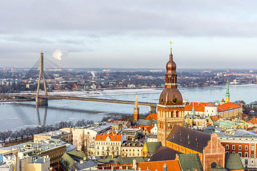 Cityscape with old town, river and bridge, Riga, Latvia - gettyimageskorea