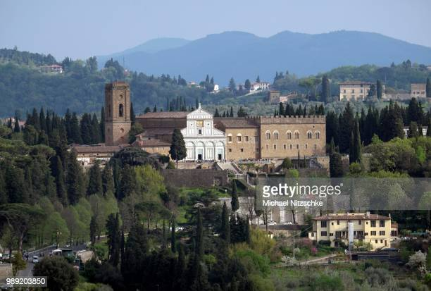 cityscape with san miniato al monde, florence, tuscany, italy - san miniato stock pictures, royalty-free photos & images