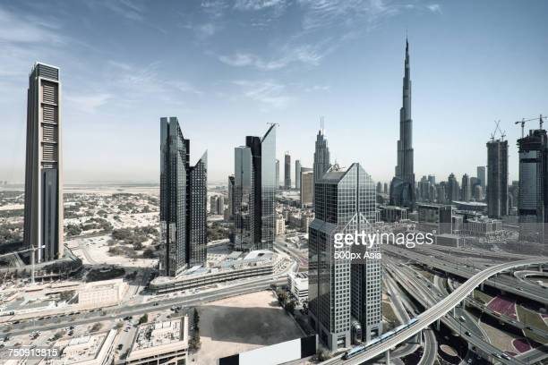 """""""cityscape with skyscrapers in dubai, united arab emirates"""" - image stock pictures, royalty-free photos & images"""