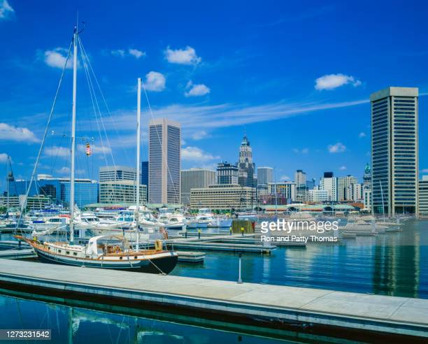 cityscape with skyscrapers of baltimore skyline maryland - baltimore maryland stock pictures, royalty-free photos & images
