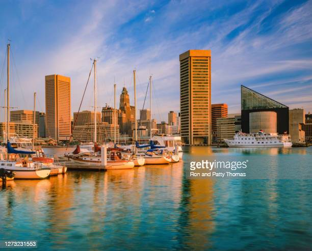 cityscape with skyscrapers of baltimore skyline maryland - national landmark stock pictures, royalty-free photos & images