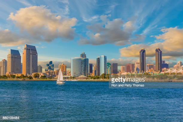 cityscape with skyscrapers of san diego skyline, ca (p) - san diego stock pictures, royalty-free photos & images
