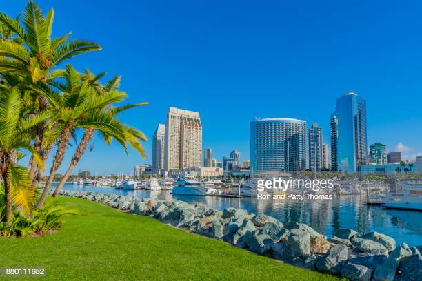 cityscape with skyscrapers of san diego skyline, ca - california stock pictures, royalty-free photos & images