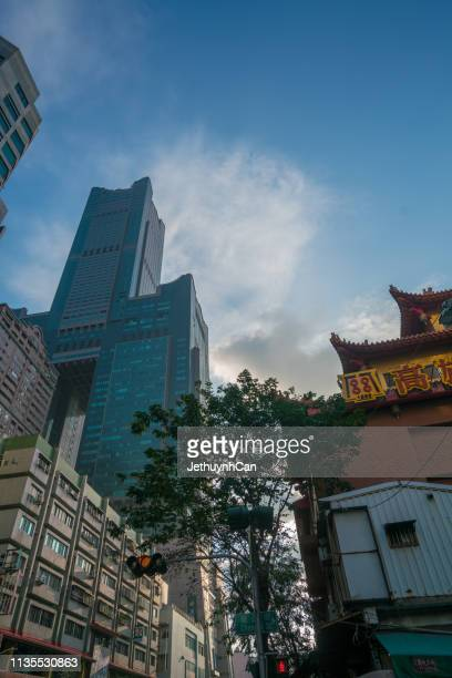 Cityscape with street and buildings, vehicles in the Center downtown Kaohsiung City, Taiwan