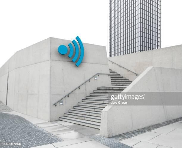 Cityscape with Wi-Fi symbol