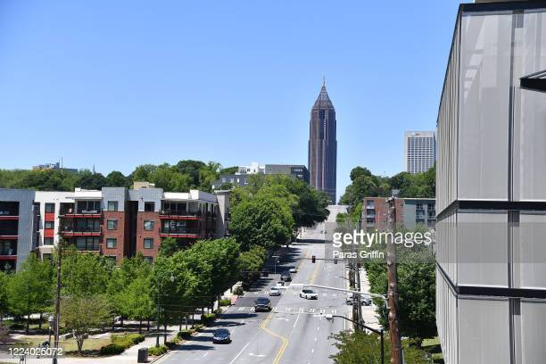 A cityspace view of the PonceyHighland and Atlanta midtown area along the Atlanta Beltline as the coronavirus pandemic continues on May 10 2020 in...
