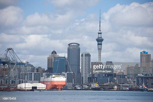Cityview from a ferryboat on the skyline with the skytower and the skyscrapers on November 23 2010 in Auckland New Zealand North Island