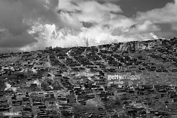 Ciudad Bolívar, a shanty town in the south of Bogota, where internally displaced people from all over the country live, Colombia, 25 August 2009....