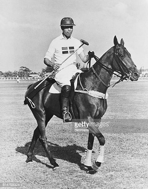 1953 Ciudad Trujillo Dominican Republic Profirio Rubirosa husband of heiress Barbara Hutton is shown in polo togs on the field at Ciudad Trujillo...