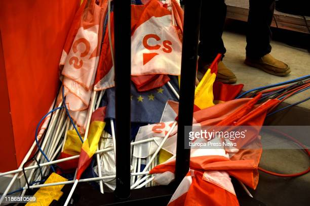 Ciudadanos flags are seen at the headquartes of Ciudadanos where the party followed election results on November 10 2019 in Madrid Spain Spain holds...