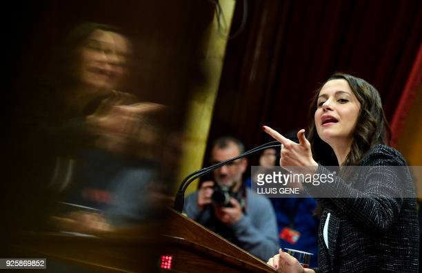 Ciudadanos group's member of Catalonia's parliament Ines Arrimadas speaks during a parliament session on March 1 2018 in Barcelona Catalan separatist...