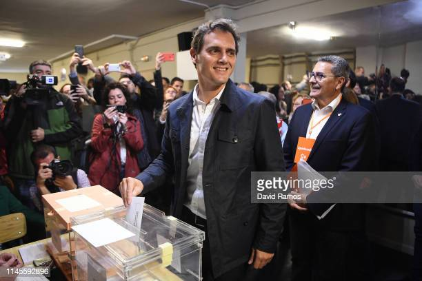 Ciudadanos leader Albert Rivera casts his vote at a polling station on April 28 2019 in Barcelona Spaniards went to the polls today to vote for 350...