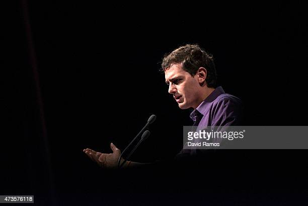 'Ciudadanos' leader Albert Rivera speaks during a rally for regional and local elections on May 16 2015 in Barcelona Spain The centerright wing party...