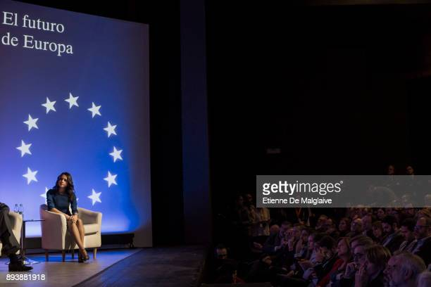 Ciudadanos party candidate Ines Arrimadas attends a meeting in a theater ahead of the forthcoming Catalan parliamentary election on December 16 2017...