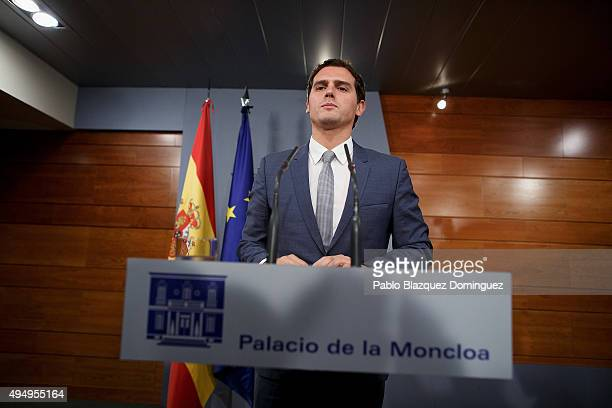 Ciudadanos party leader Albert Rivera arrives to a press conference after his meeting with Spanish Prime Minister Mariano Rajoy at Moncloa Palace on...