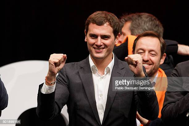 Ciudadanos party leader Albert Rivera gestures at the end of the final electoral campaign rally at Plaza de Santa Ana on December 18 2015 in Madrid...