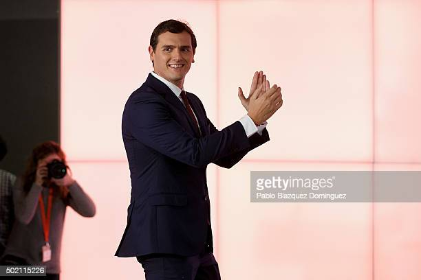Ciudadanos party leader Albert Rivera greets to his supporters after learning the final general elections results at Hotel Eurobuilding on December...