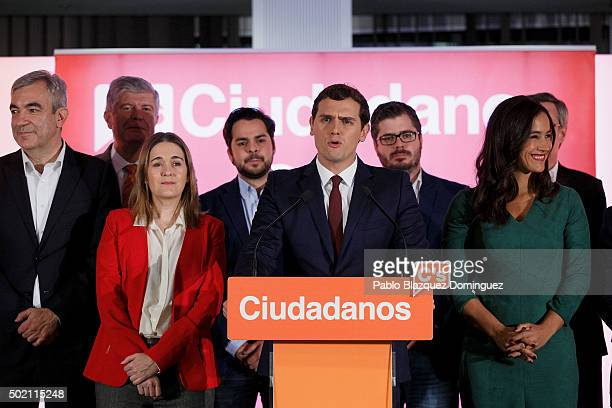Ciudadanos party leader Albert Rivera speaks after learning the final general elections results at Hotel Eurobuilding on December 20 2015 in Madrid...