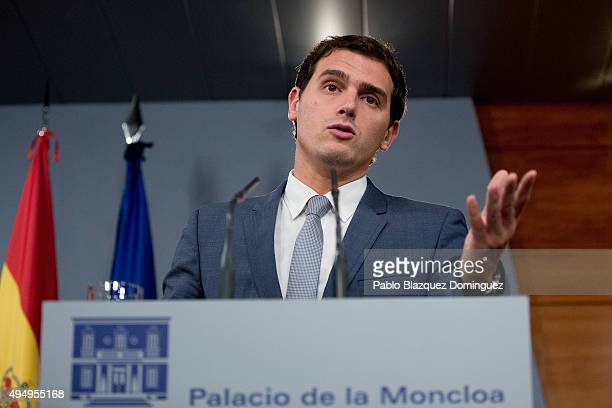 Ciudadanos party leader Albert Rivera speaks during a press conference after his meeting with Spanish Prime Minister Mariano Rajoy at Moncloa Palace...