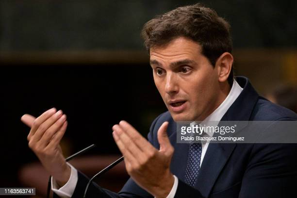 Ciudadanos party leader Albert Rivera speaks during the investiture debate at the Spanish Parliament on July 22 2019 in Madrid Spain Spanish...