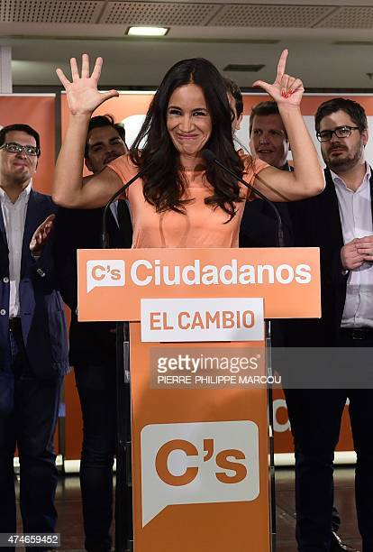 Ciudadanos political party's candidate for mayor of Madrid Begona Villacis gestures during a press conference following the results in Spain's...