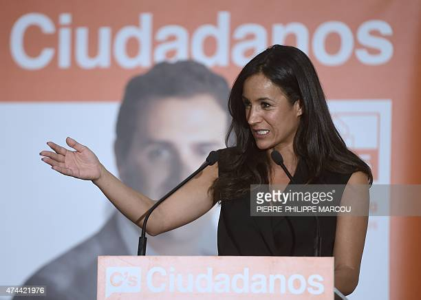 Ciudadanos political party's candidate for mayor of Madrid Begona Villacis speaks the party's closing campaign meeting in Madrid on May 22 2015 ahead...