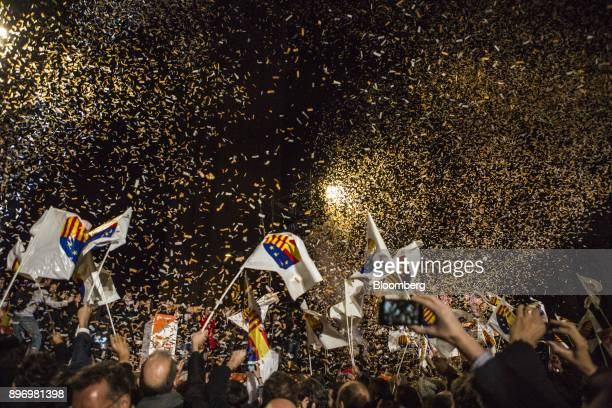 Ciudadanos supporters celebrate their electoral victory in Barcelona Spain on Thursday Dec 21 2017 An election in Catalonia Dec 21 gives voters...