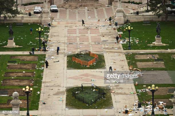 Civic Center Park is covered in trash the morning after the 4/20 marijuana event was held at the park on April 21 2017 in Denver Colorado