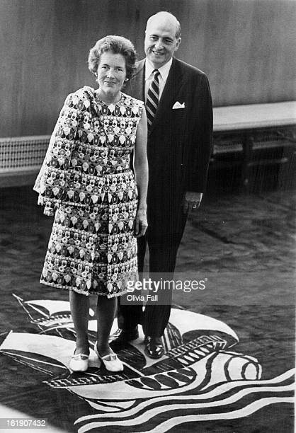 SEP 29 1970 OCT 4 1970 Civic theatre is an interest of Mr and Mrs David Dunklee shown here in Bonfils Theatre lobby Ship emblem commemorates theatre...