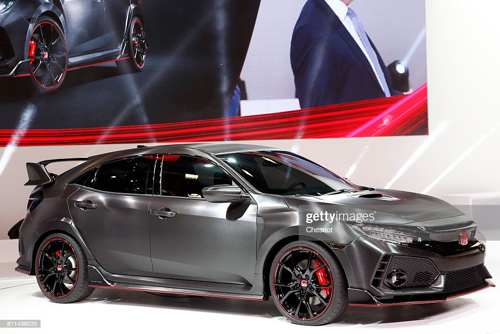 A Civic Type R Prototype automobile sits on display during the first press day of the Paris Motor Show on September 29, 2016, in Paris, France. The Paris Motor Show will showcase the latest models from the auto industry's leading manufacturers at the Paris Expo exhibition centre.